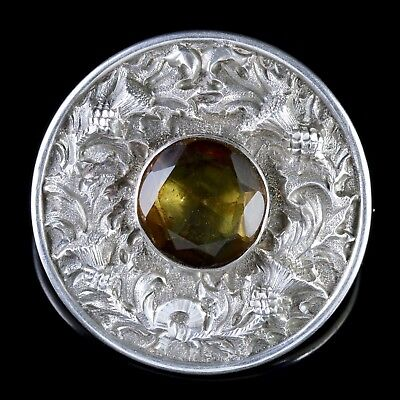 Antique Victorian Scottish Silver Thistle Citrine Brooch Circa 1890
