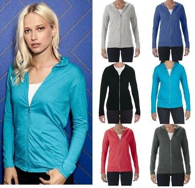 ANVIL Ladies Tri-Blend Semi-Fitted Zip HOODED JACKET Lightweight Colour Choices