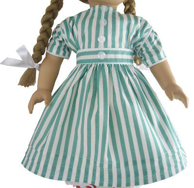 "Striped Summer Dress & Hair Ribbons made for 18"" Kirsten Doll Clothes"