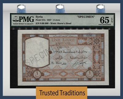 "TT PK 57s 1947 SYRIA 1 LIVRE ""SPECIMEN"" PMG 65 EPQ GEM UNCIRCULATED POP FIVE!"