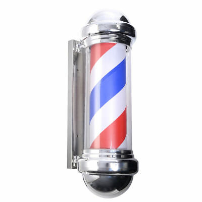 """30"""" Barber Shop Pole Red White Blue Spin Rotating Light Stripes Sign Hair Cut"""