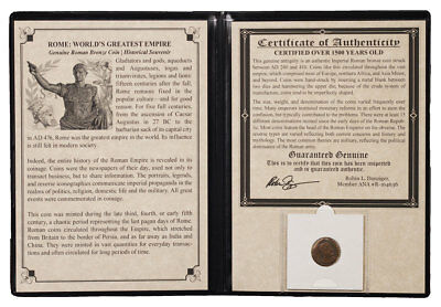 Roman Bronze Coin (AD 240-410) The World's Greatest Empire Album W/COA SKU47202