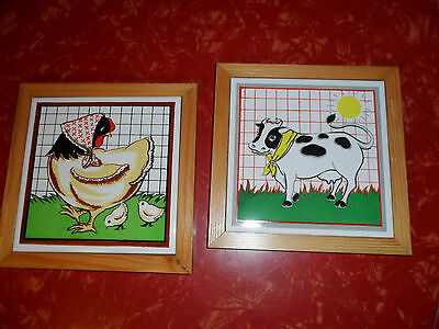 """Pair of Adorable Vintage Wood and Ceramic Cow and Chicken Trivets 7 1/8"""" Square"""