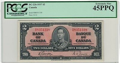 Canada 1937 $2 Bank of Canada Banknote PCGS 45PPQ S/B
