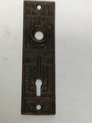 Antique Vintage Victorian  Cast Iron Door Knob Lock Key Hole Plate Part