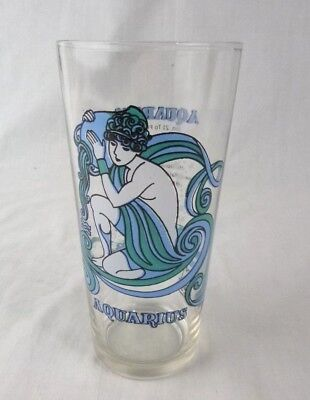 Vintage 1976 MOD Arbys Aquarius Zodiac Horoscope Glass Tumbler by Beverly