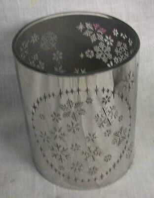 NEW GLASS AND SILVER Candle Holders with Snowflake Wide TII Collections