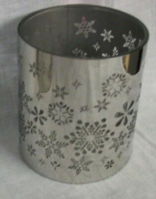 "NEW GLASS AND SILVER Candle Holders with Snowflake 4"" tall TII Collections"