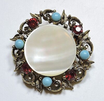 Vintage Mother of Pearl, Faux Turquoise Bead & Red Rhinestone Brooch Pin AU17815
