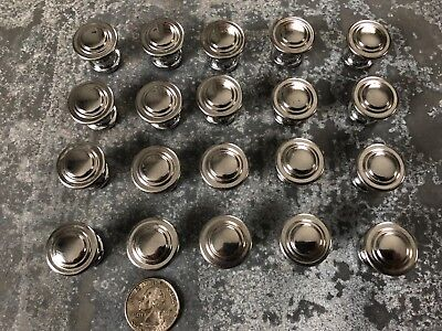 "Lot of 20 vintage mid century modern 7/8"" chrome cabinet drawer knobs Art Deco"