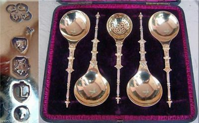 Antique Victorian Gilt Sterling Silver Serving Set English Servers fitd box(725)