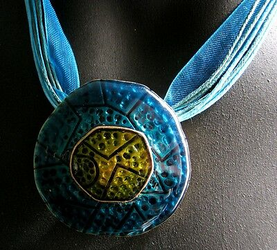 Bronze Plated Teal Blue Green Organza Cord Necklace Enamel Pendant FREE POST