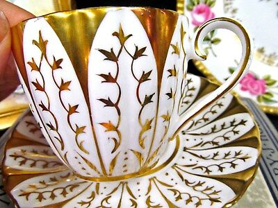 Royal Chelsea Tea Cup And Saucer 22Kt Gold Teacup Panels