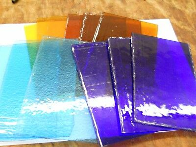 Samples of Antique Stained Glass in Four Different Colors - Small Square of Each
