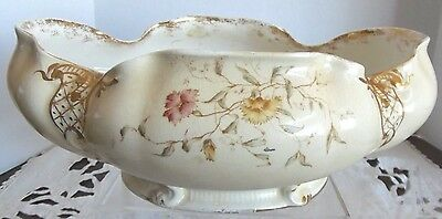 Stunning Art Nouveau Console/centerpiece Floral Gold Gilt Oval Bowl