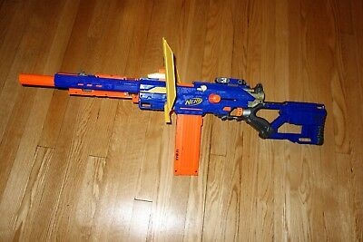 NERF Longstrike CS-6 Sniper Rifle Clip Shield Back Stock Tested & Working!