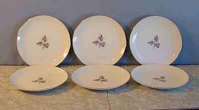 Vintage! Set Of 6 Narumi Lyric Pink Flowers & Silver Leaf Small Plates 6 3/8""