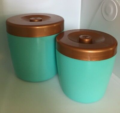 Pair Teal Canisters With Bronze Lids - Kitchenalia Collectable Unique Retro