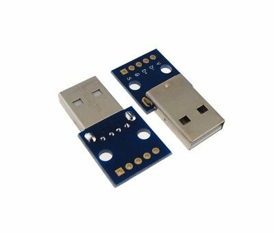 USB 2.0 Type A Male Breakout Board 2.54mm Header - Pack of 2