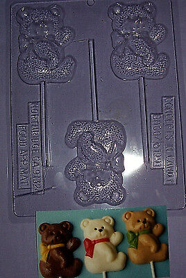 Large Teddy Bear With A Bow Chocolate Mould Or Chocolate Lollipop Mould - Euc