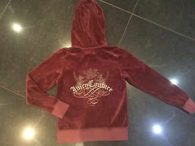 NWT Juicy Couture New & Genuine Girls Age 8 Rust Velour Hoody With Juicy Logo