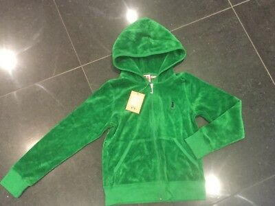 NWT Juicy Couture New & Genuine Girls Age 8 Green Velour Hoody With Juicy Logo