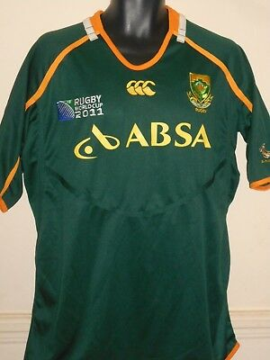 South Africa Rugby Home Shirt (Rugby World Cup 2011) xl men's New With Tags #874