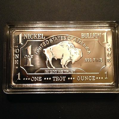 1 OUNCE / OZ OF .999 Nickel Buffalo Bar/INGOTS/Bullion Lot in Bar Case*