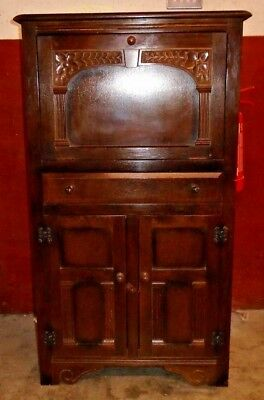 Vintage Tudor / Court Style Solid Oak Dark Wood Tallboy Cocktail Cabinet - W52