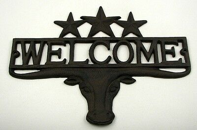 CAST IRON- Steer & Stars Welcome Sign Plaque Wall Mount Western Rustic Brown