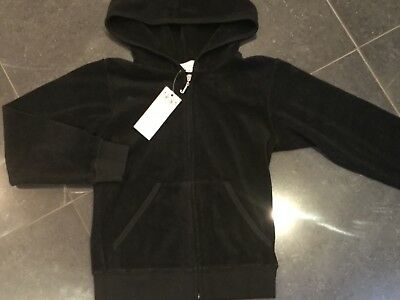 "NWT Juicy Couture New & Genuine Girls Age 8 Black Cotton Hoody With ""J"" Zip Pull"