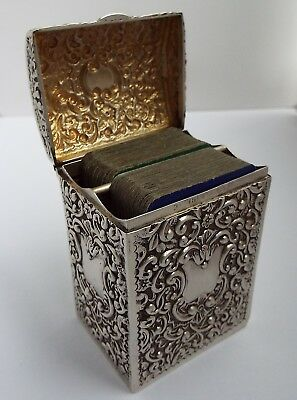 Stunning English Antique 1904 Solid Sterling Silver Travelling Playing Card Box