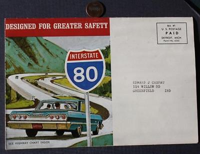 1964 Greenfield,Indiana Christian Quality Chevrolet-Chevy Highway Map mailer!