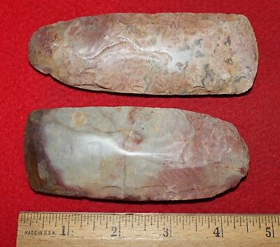 Pair of Colorful Neolithic Flint Celts