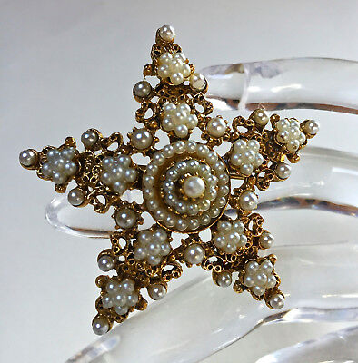 Vintage Jewellery Signed Florenza Pearl Filigree Star Brooch/pin