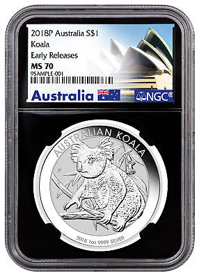 2018-P Australia 1 oz Silver Koala $1 NGC MS70 ER Black Exclusive Label SKU52184