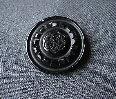 Antique Art Deco Deeply Carved Black Galalith Large Flower Button  #2