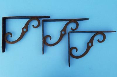 "3 Vintage Hammered Cast Iron Shelf Brackets Plant Hangers 6"" x 8"" Mid Century"
