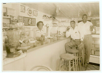 Black Men Waitress Soda Fountain Double Cola Perhaps Black Owned Store Old Photo
