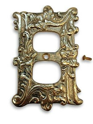 VINTAGE Floral Lillies SOLID BRASS Outlet Cover Plate