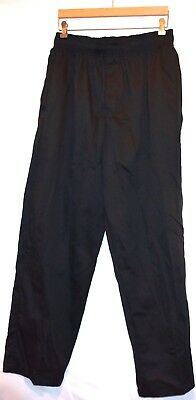 CHEF WORKS Black Baggy Uniform Chef Pants (Sz L/Large) Drawstring Elastic Waist