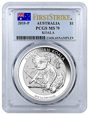 2018-P Australia 1 oz Silver Koala $1 Coin PCGS MS70 FS Flag Label SKU52190