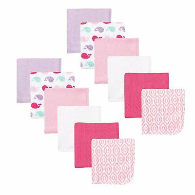 """Luvable Friends 12 Pieces Baby Girls Washcloths 9 X 9"""" Pink Whale New"""