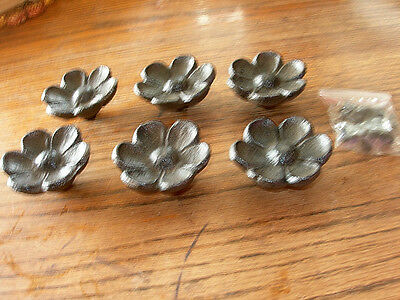 Set of 6 Antique Replica  Cupped Flower Drawer Pull Knob Cast Iron Brown