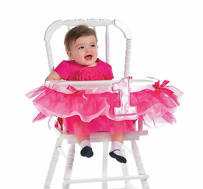 1st Birthday Baby Girl High Chair Decorations Pink Ruffle Bows