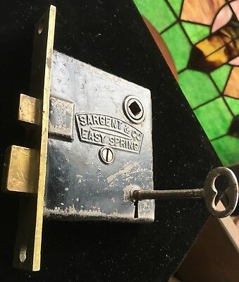 ANTIQUE Sargent EASY SPRING w BRASS FACE & Brass Bolts MORTISE LOCK w KEY