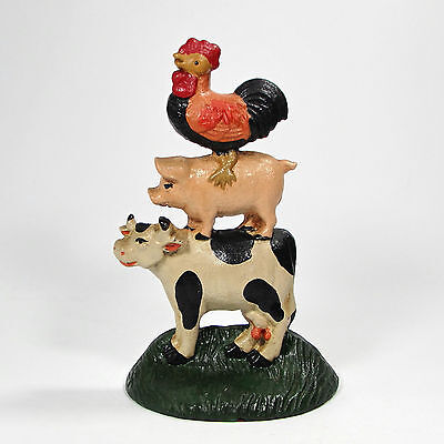"Upper Deck 1991-1996 Cast Iron FARM ANIMALS 8"" Doorstop Stacked Cow Pig Rooster"