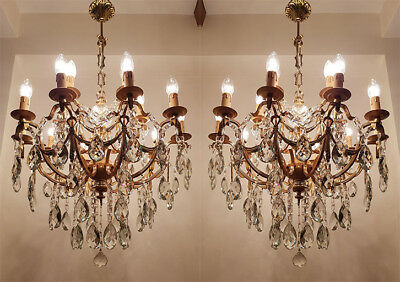 A Pair of Antique 15 arms Brass & Crystals HUGE Chandeliers from 1950's