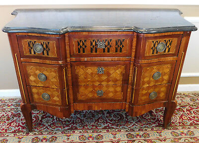 Antique 19th C Transitional French Louis XVI  Marble Top Inlaid Commode Chest