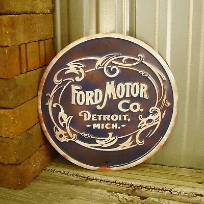 "Ford Motor Co. Detroit Michigan Round 12"" Embossed Metal Tin Sign Vintage Garage"